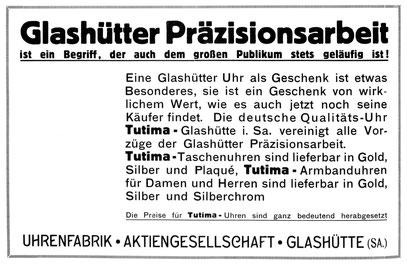 Quelle: Allgemeines Journal der Uhrmacherkunst Nr. 49 vom 04. 12. 1931