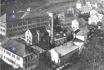 1; Altes Fabrikgebäude Strasser & Rhode,3; neues, verpachtetes Fabrkgebäude, 2; Archimedes [2]