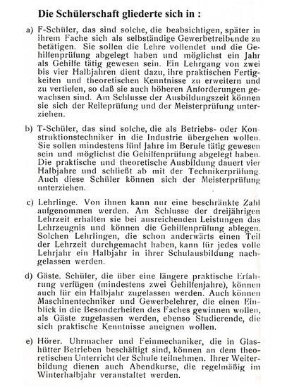 Quelle: Taschenbuch für die Besucher der Höheren Fachschule für Uhrmacherei und Feinmechanik Glashütte i. Sa. 1930