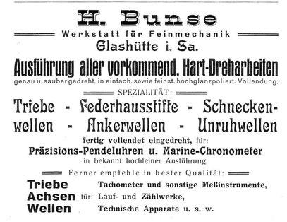 """Quelle: """"Saxonia""""  Bericht für die Alten Herren der Schülervereinigung """"Saxonia"""" an der Deutschen Uhrmacherschule in Glashütte 19xx Nr.12 Anzeigeteil"""