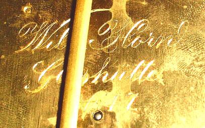 """Erste Werksignatur: """"Wilhelm Horn Glashütte"""" Werk Nr. 47"""