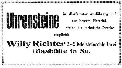 """Quelle: """"Saxonia"""" Nr.31 vom Dez. 1926 Anzeigeteil"""