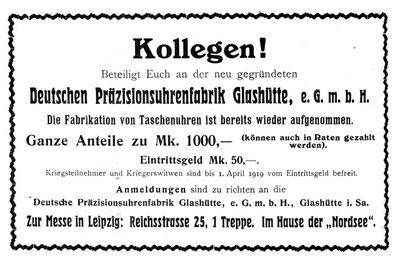 AJU Nr.15 v. 1.Aug. 1919 Anzeigenteil
