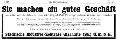 Quelle: Die Uhrmacherkunst vom23.06.1921 Anzeigen XXIV