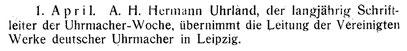 """Quelle: """"Saxonia"""" Bericht für die alten Herren der Schülervereinigung """"Saxonia"""" an der Deutschen Uhrmacherschule zu Glashütte Nr. 24 vom Juni 1923"""