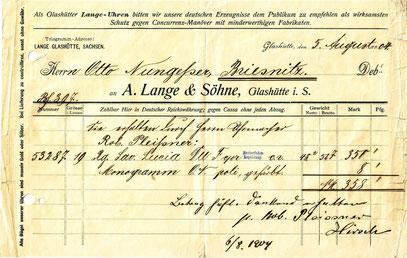 Rechnung von 1904