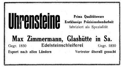Quelle: Saxonia Heft 1923 Anzeigeteil