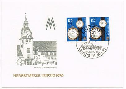 Ersttagspostkarte mit Sonderstempel zur Leipziger Herbstmesse 1970