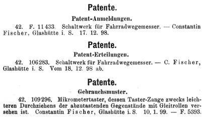 Handelszeitung für die gesamte Uhrenindustrie 1899 Nr.5 S.60, Nr.12 S.147, Nr.22 S.268