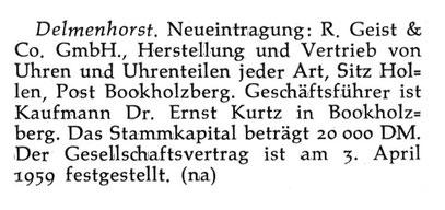 Quelle: Neue Uhrmacher-Zeitung Nr.14 vom 31. Juli 1959 S.30