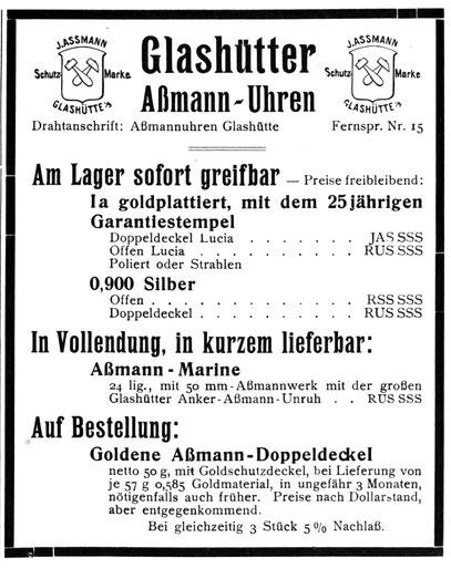 Quelle: Die Uhrmacherkunst Nr.18 vom 04.05.1923 S. 230