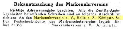 Quelle: Deutsche Uhrmacher-Zeitung Nr.03 vom 14. Jan. 1928 S. 52