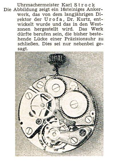 Quelle: Neue Uhrmacher-Zeitung Nr. 10 vom 15. Okt. 1949 S.308