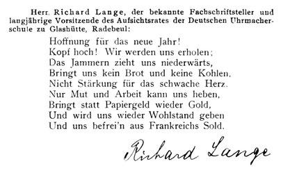 Quelle: Allgemeines Journal der Uhrmacherkunst Nr.53 v. 31.Dez. 1923 S.579