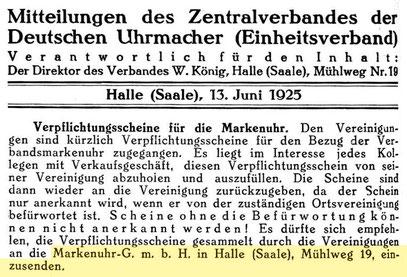 Quelle: Deutsche Uhrmacher-Zeitung Nr. 24 vom 13. Juni 1925 S. 484