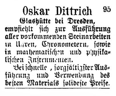Quelle: Allgemeines Journal der Uhrmacherkunst 1877 Nr.29 Anzeigeteil