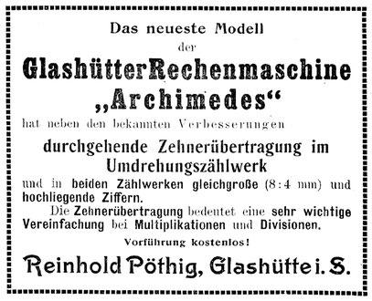 Quelle: Jahresheft Urania 1910/12