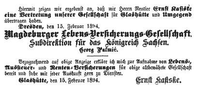 Quelle Müglitztal-Nachrichten vom 22. Februar 1894