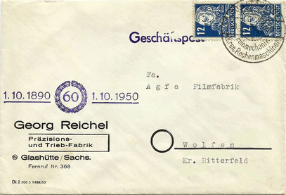 Geschäftsbrief mit Anlassstempel zum 60 jährigen Firmenjubiläum 1950