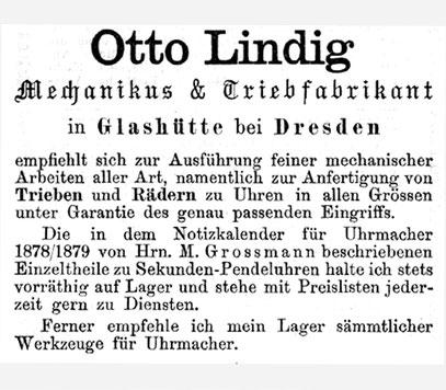 Moritz Großmann, Notizkalender für Uhrmacher 1883 Anzeigeteil