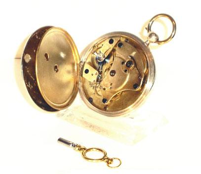 Offene silberne Taschenuhr mit Schlüsselaufzug A. Lange & Cie. Typ1.2.1 Nr. 587