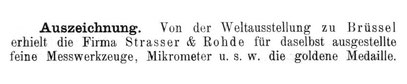 Quelle: Allgemeines Journal der Uhrmacherkunst Nr. 22 v. 15. Nov. 1897 S. 486