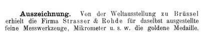 Quelle: Allgemeines Journal der Uhrmacherkunst Nr. 22 v. 15. Nov. 1897 S. 486
