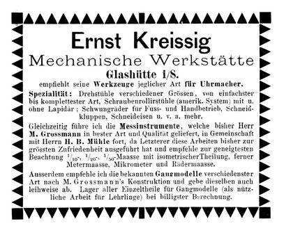 Werbeanzeige 1885 im Allgemeinen Journal der Uhrmacherkunst