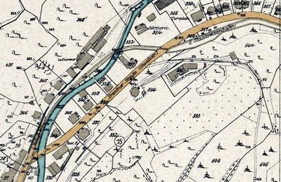 Die Flurstücke 334 und 335, waren ehemalige Grundstücke von Ernst Kasiske Flurkartenausschnitt von 1919