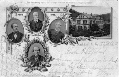 Historische Postkarte von1903 mit Ansicht der Deutschen Uhrmacherschule mit der Blickrichtung zum Ochsenkopf