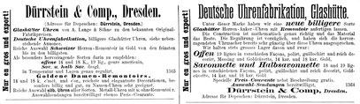 Quelle: Deutsche Uhrmacher-Zeitung Nr.14 vom 15. Juli 1879 Anzeigenteil