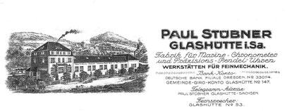 Briefkopf der Firma Stübner