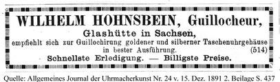 Quelle: Allgemeines Journal der Uhrmacherkunst Nr.24 vom 15. Dez. 1891 2. Beilage S. 437