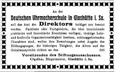 Uhrmacherkunst Nr.1 v, 1. Jan. 1920 Anzeigenteil