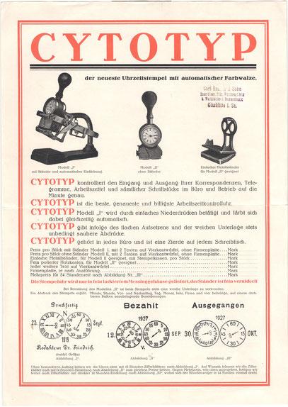 """lt. Lexikon der Deutschen Uhrenindustrie - Registrierung der Marke """"Cytotyp"""" am 14.06.1923"""