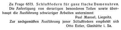 Quelle: Deutsche Uhrmacher-Zeitung Nr. 18 vom 15. Sept. 1907 S. 298