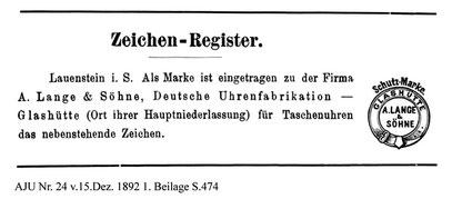 Einführung der Schutzmarke bei der Firma A. Lange & Söhne im Dezenber 1892