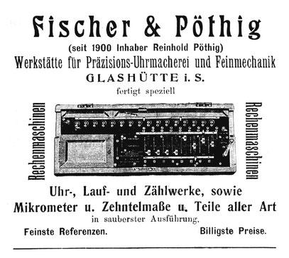 """Werbeanzeige im """"Urania"""" Jahresheft 1907"""