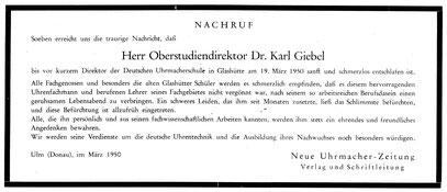 Quelle: Neue Uhrmacher-Zeitung Nr.6 vom 31. März 1950 Titelseite