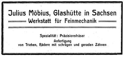 """Quelle: """"Saxonia""""  Bericht für die Alten Herren der Schülervereinigung """"Saxonia"""" an der Deutschen Uhrmacherschule in Glashütte 1923 Nr.24 Anzeigeteil"""