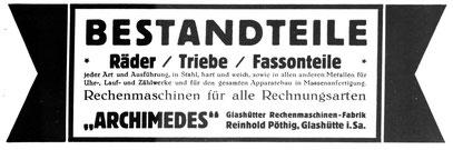 Quelle: Deutsche Uhrmacher-Zeitung 1927 Nr. 16 Anzeigeteil