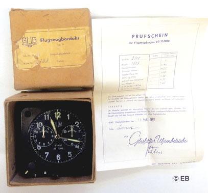 GUB Borduhr Kal.71 mit originaler Verpackung & Prüfschein Werknummer 2308 von 1967
