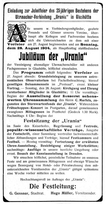 Quelle: Leipziger Uhrmacher-Zeitung Nr.15 vom 01. Aug. 1904 S. 19