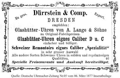 Quelle: Deutsche Uhrmacher-Zeitung Nr.05 vom 06. März 1877 Inseratbeilage