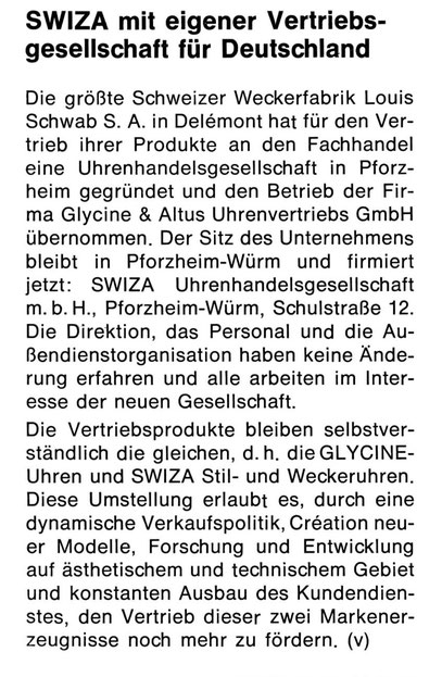 Quelle: Neue Uhrmacher-Zeitung Nr. 01 von 1975 S. 11