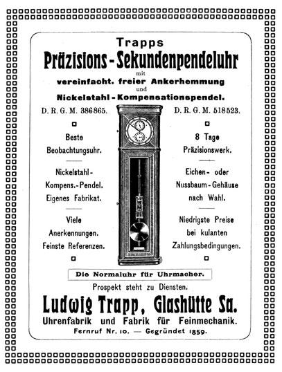 Quelle: Allgemeines Journal der Uhrmacherkunst Nr.01 vom 01. Jan. 1914 Anzeige