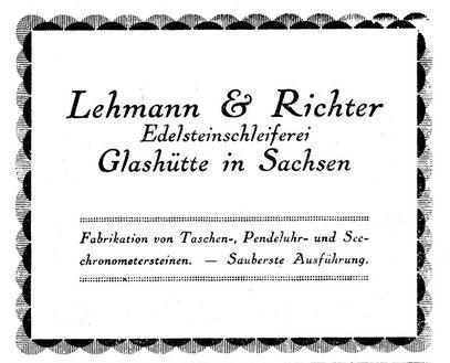 Quelle: Saxonia Heft 1924 Anzeigeteil
