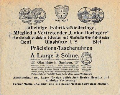 Briefwerbung der Union Horlogére um 1904