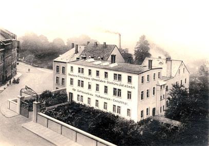 Das Fabrikgebäude der Gehäusefertigung in Hohenstein-Ernstthal 1920 [1]