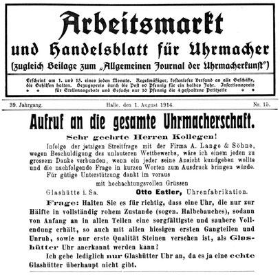 Quelle: Allgemeines Journal der Uhrmacherkunst Nr.15 vom 01.August 1914 S.68